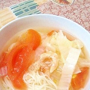 トマトと白菜と小エビの中華風にゅうめん