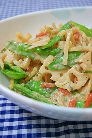 絹さやと根菜の温サラダ