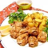 チキンのオーブン焼き~ローズマリーポテト添え
