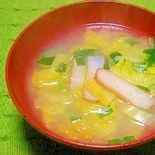 毎日のお味噌汁83杯目*白菜、ニラ、さつま揚げ