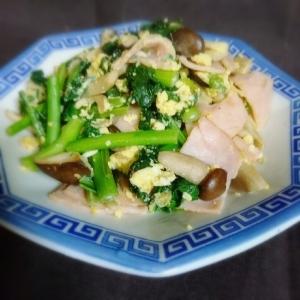 のらぼう菜 ぶなクイーン(しめじ) ハムの炒め物