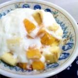 デザートに柿とバナナのヨーグルトポンチ