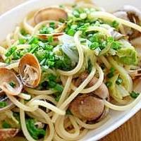 白菜とアサリの味噌パスタ