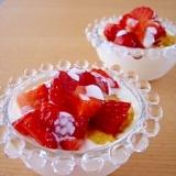 簡単デザート♪苺ヨーグルトアイスのパフェ