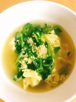 簡単美味しい!豆苗と卵の中華風スープ