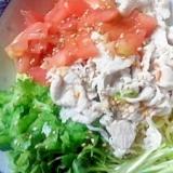 色鮮やかな冷やし中華【トマト&ゴーヤ&豚肉】