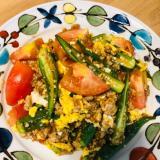 夏野菜と卵の鶏そぼろ