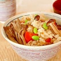 発芽大豆ときのこの炊き込みご飯