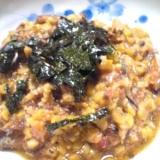 納豆と鰯味付き缶の和え物