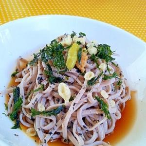 ひとりランチに簡単♪なめ茸と海苔と薬味の冷やし蕎麦