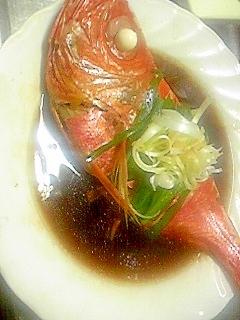 蒸し器で中華風煮魚。