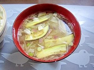和朝食!茄子とミョウガと青ネギのお味噌汁