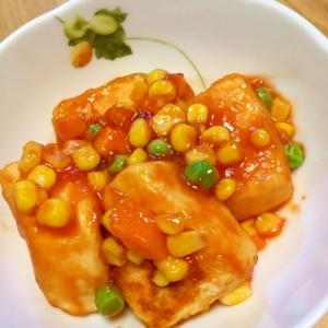 豆腐の酢豚風ケチャップあん