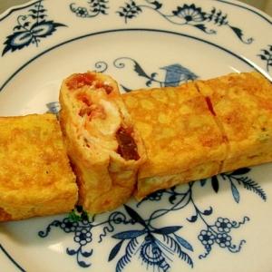 きゅうりのキューちゃんと葱と紅ショウガの卵焼き