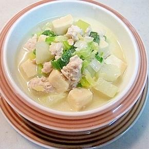 風邪予防に!大根と高野豆腐のミルク煮