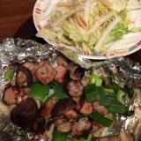 ねぎ塩ホルモンのグリル焼きと白菜のサラダ