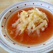 ☆節約☆白菜だけで♪簡単バジルトマトスープ