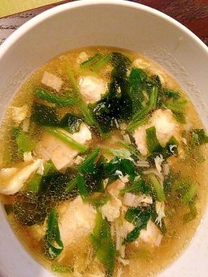 豆腐入り鶏団子の中華スープ