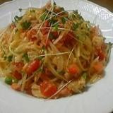 ツナとトマト、えんどう豆の冷製スパゲッティ
