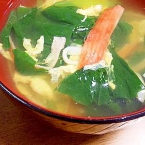 カニカマとほうれん草の中華スープ