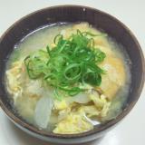 キャベツ,玉葱,薄揚げの卵とじお味噌汁
