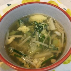 ニラとエノキのたまごスープ