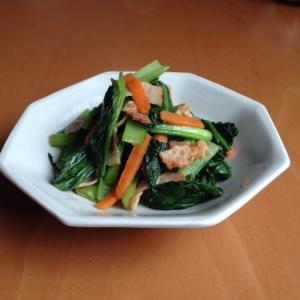 小松菜とベーコンの中華炒め