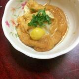銀杏入りモチ巾着の甘辛煮@青じそを添えて。