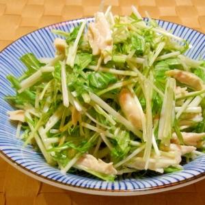 水菜とささみのわさびマヨネーズ和え