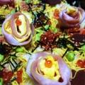 お花見弁当やキャラ弁に♪ハムと卵でバラ♥簡単おかず