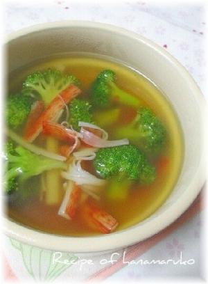 ブロッコリーのカニカマの簡単スープ