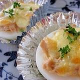 ゆで卵のツナチーズ焼き