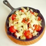 フランクフルト&ポテトのトマトチーズ焼き