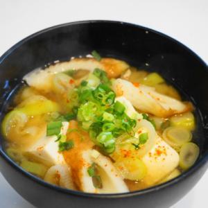 味噌汁の基本中の基本!長ネギと豆腐と竹輪の味噌汁