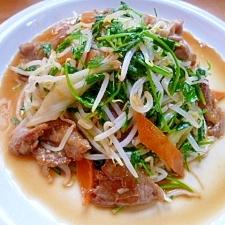 再収穫豆苗と豚肉の野菜炒め