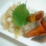 揚げ鮭とカボチャの南蛮漬け