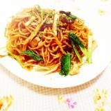 小松菜と高野豆腐の焼き蕎麦