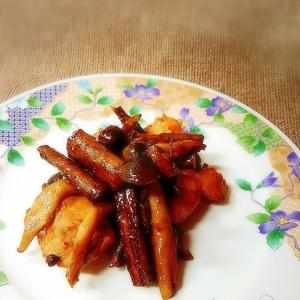 鳥胸肉とごぼうの黒酢炒め