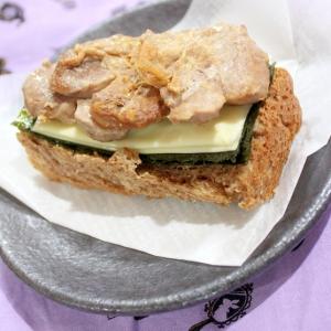 柔らか♪豚ヒレ味噌マヨ炒めストック海苔チーズサンド