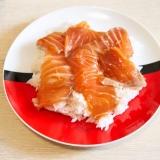 簡単☆ごま油めんつゆサーモン漬け丼