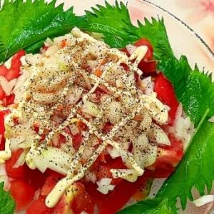 トマト&玉ねぎのオリーブオイル&マヨサラダ