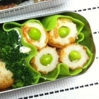 お弁当♪焼きちくわの枝豆詰め☆