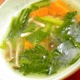 小松菜としめじの中華スープ