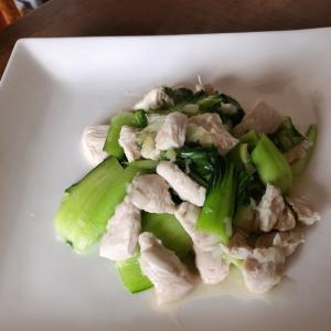 青梗菜と鶏胸肉の炒め物