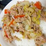 豚ミンチの中華丼