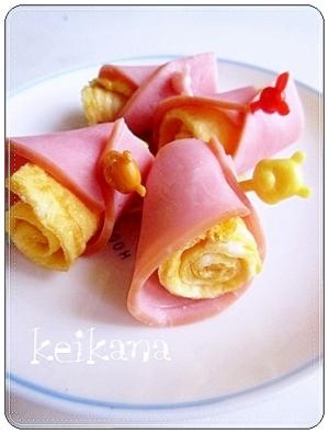 超簡単☆お弁当にも♡かわいいクルクルたまごハム♪