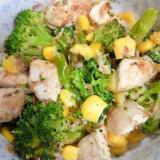 鶏肉&ブロッコリー&コーンのおかかマヨ和え