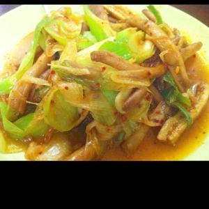茶樹茸とネギの中華炒め