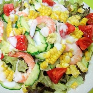 とうもろこしと海老レタスのサラダ