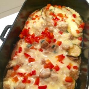 【ズッキーニの肉味噌チーズ焼】とろとろ幸せ♪